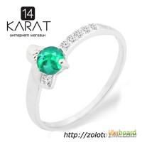 Золотое кольцо с натуральным изумрудом и бриллиантами 0, 06 карат 17 мм. Белое золото