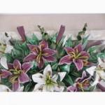 Продам авторскую картину из натуральной кожи Натюрморт с лилиями