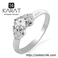 Золотое кольцо с бриллиантами 0, 45 карат 17 мм. Белое золото. НОВОЕ (Код: 13341)