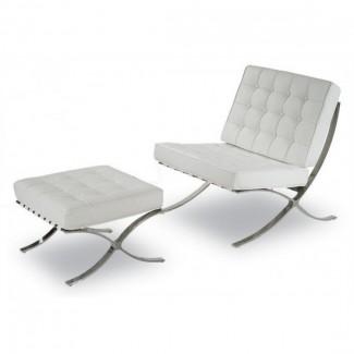 Кресло Барселона с банкеткой под ноги, цвет белый