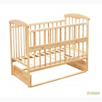 Кроватка деревянная Наталка маятник, откидной бортик, ольха св 48456