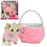 Собачка CCL Чіхуахуа. Принцеса краси у хутряному манто з тіарою та сумочкою, 20 см