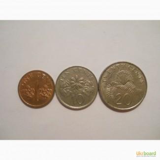 Монеты Сингапура (3 штуки)