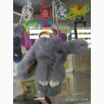 Кролики на сумку, ключи, кошелек! стильный брелок зайка премиум качества из меха кролика
