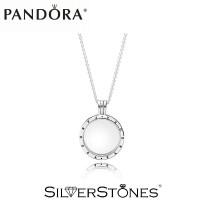 Скидки! Оригинал Pandora колье медальон с логотипом Пандора на цепочке арт. 590529-60