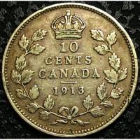 Канада 10 центов 1913 год СЕРЕБРО!!! СОСТОЯНИЕ!!! НЕ ЧАСТАЯ