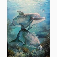 Картина маслом Черноморские дельфины
