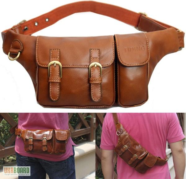Фото 2. Продается мужская кожаная сумка на пояс из натуральной кожи теленка высшего качества