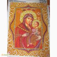 Картина вышита чешским бисером божья матерь