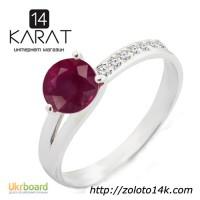 Золотое кольцо с натуральным рубином и ... 0, 07 карат 17 мм. Белое золото. НОВОЕ