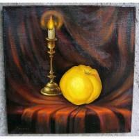 Купить картину маслом в Одессе: Натюрморт с айвой 40х40см