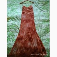 Платье с шарфиком коричневое
