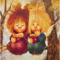 Картина маслом Ангелы с вареньем
