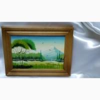 Картина маслом в деревянной рамке