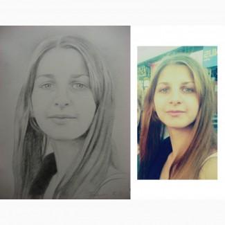 Портрет девушки карандашом на заказ в Киеве
