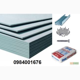 Гипсокартон стеновой влагостойкий потолочный, ЛЦ2, ЛЦ4, профиль, Кнауф мп75