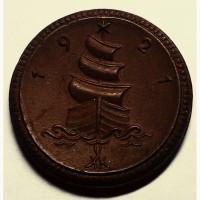 Саксония 1 марка 1921 год керамика ПАРУСНИК!!! РЕДКОСТЬ