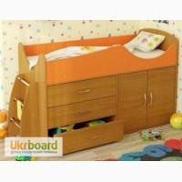 Детские кровати-чердаки со шкафом, ящиками, лестницей