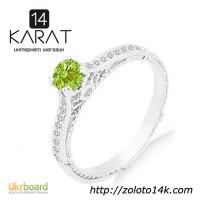 Золотое кольцо с зеленым и белыми бриллиантами 0, 35 карат 16, 5 мм. Белое золото. НОВОЕ
