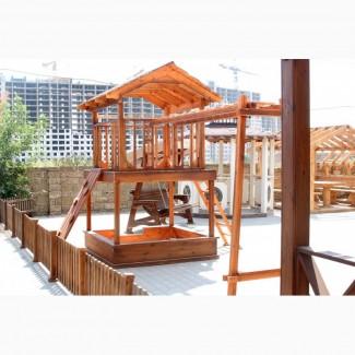 Детские деревянный игровой домик, площадка и комплекс