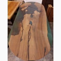Столешница/Слэб из массива ореха с использованием эпоксидной смолы