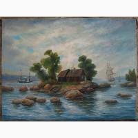 Картина маслом: Остров на море 40х52см