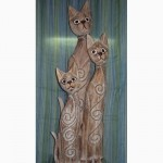 Статуэтки кошек деревянные декоративные