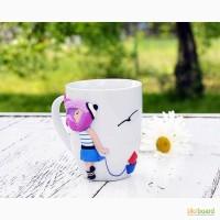 Чашка декорированная полимерной глиной, чашка с рисунком, оригинальный подарок
