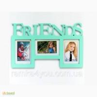 Деревянная мультирамка-фоторамка Friends салатовая настенная