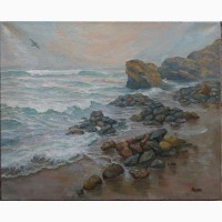 Картина маслом Пляж дельфин 50х60см