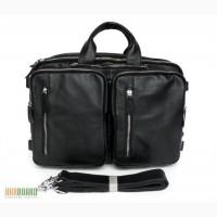 Продается вместительная удобная мужская кожаная сумка, трансформер 5 в 1, черная