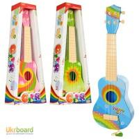 Гитара 3715-1-2-3 53см, струны 4шт, 3 вида, в кор-ке, 21, 5-53, 5-8, 5см