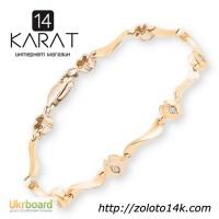 Золотой браслет с натуральными бриллиантами 0, 20 карат 17, 5 см. Желтое золото. НОВОЕ