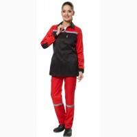 Рабочий костюм женский с брюками, красно-черный