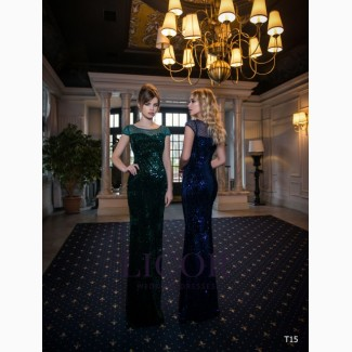 Блестящее облегающее зелёное вечернее платье