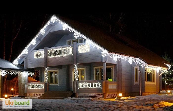 Фото 3. Бахрома светодиодная, гирлянды для улицы, новогодняя подсветка дома