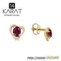 Золотые серьги пуссеты с натуральными рубинами и бриллиантами 0, 05 карат. Желтое золото