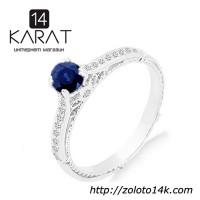Золотое кольцо с сапфиром и бриллиантами 0, 10 карат 16, 5 мм. Белое золото. НОВОЕ