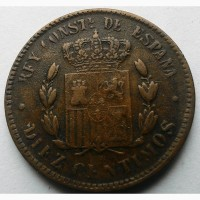 Испания 10 сантимов 1879