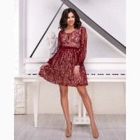 Бордовое короткое вечернее платье