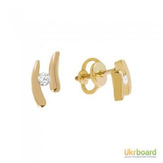 Золотые гвоздики с бриллиантами 0,05 карат. НОВЫЕ (Код: 14014)