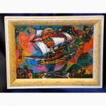 Витражная картина «Пиратская галера»