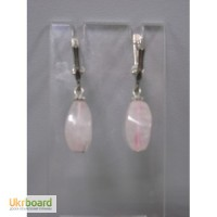 Серьги - розовый кварц. Камень натуральный. Застежка - английская, серебро 925пр