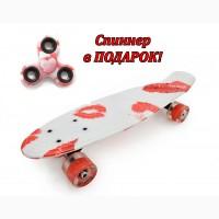 Качественный Penny Board со светящимися колесами. СПИННЕР в подарок! Акция до 30.09.17
