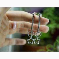 Продам Модные Серебряные серьги Сердце и Звезда висячие подвески ( висюльки )