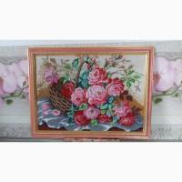 Картина вышитая бисером Корзина роз