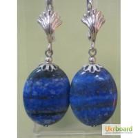Серьги синие - лазурит с пиритовым отблеском, камень натуральный, застежка - серебро