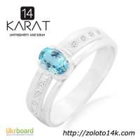 Серебряное кольцо с голубым топазом 0, 50 карат ...