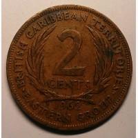 Восточные Карибы, 2 цента 1962 год дм. 30, 5 мм, вес 9, 55 г