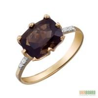 Золотое кольцо с топазом 3,00 карат и бриллиантами. НОВОЕ (Код: 17243)